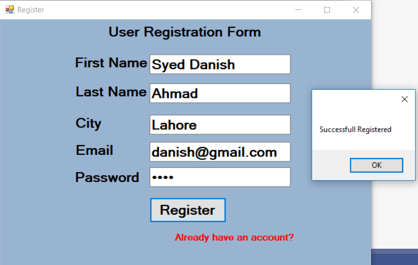 create Registration form by using Insert query