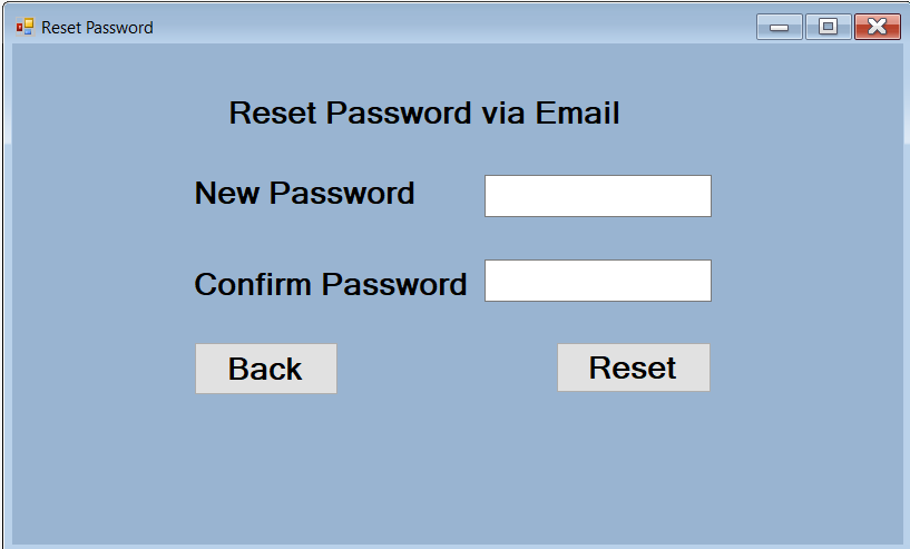 Create new password and confirm password form in c#